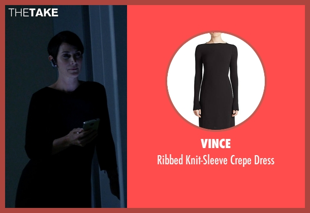 Vince black dress from Jessica Jones seen with Jeri Hogarth (Carrie-Anne Moss)