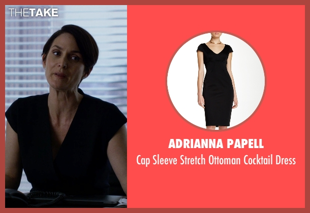 Adrianna Papell black dress from Jessica Jones seen with Jeri Hogarth (Carrie-Anne Moss)