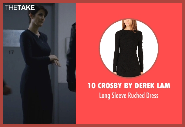 10 Crosby by Derek Lam black dress from Jessica Jones seen with Jeri Hogarth (Carrie-Anne Moss)