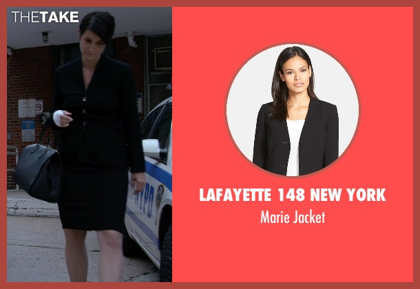 Lafayette 148 New York black jacket from Jessica Jones seen with Jeri Hogarth (Carrie-Anne Moss)