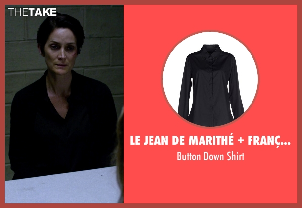 Le Jean De Marithé + François Girbaud black shirt from Jessica Jones seen with Jeri Hogarth (Carrie-Anne Moss)