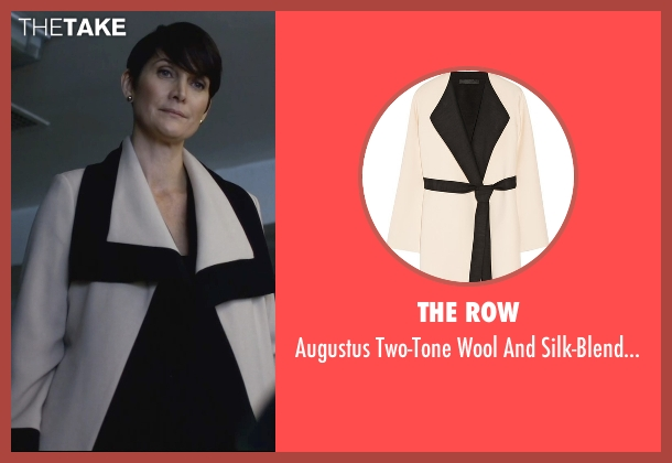 The Row white coat from Jessica Jones seen with Jeri Hogarth (Carrie-Anne Moss)