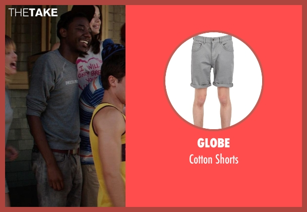 Globe gray shorts from Neighbors seen with Jerrod Carmichael (Garf)