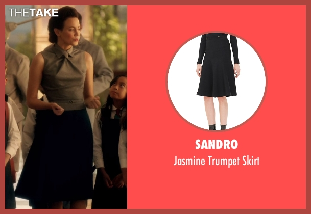 Sandro black skirt from The Flash seen with Jesse Chambers (Violett Beane)