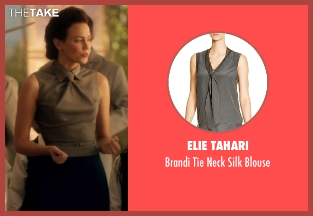 Elie Tahari gray blouse from The Flash seen with Jesse Chambers (Violett Beane)