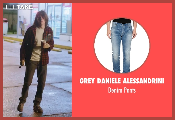 Grey Daniele Alessandrini blue pants from American Ultra seen with Jesse Eisenberg (Mike Howell)