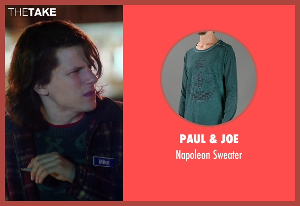Paul & Joe green sweater from American Ultra seen with Jesse Eisenberg (Mike Howell)