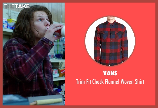 Vans red shirt from American Ultra seen with Jesse Eisenberg (Mike Howell)