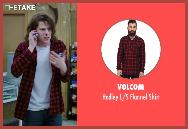 Volcom red shirt from American Ultra seen with Jesse Eisenberg (Mike Howell)