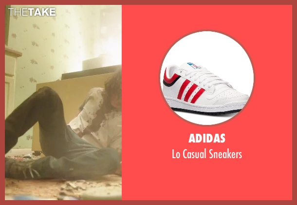 Adidas red sneakers from American Ultra seen with Jesse Eisenberg (Mike Howell)