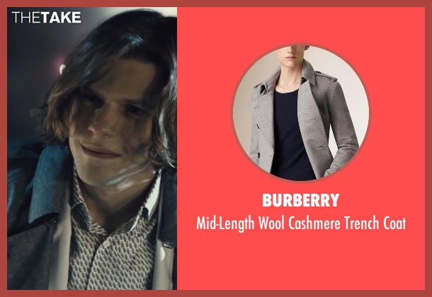 Burberry black coat from Batman v Superman: Dawn of Justice seen with Jesse Eisenberg (Lex Luthor)
