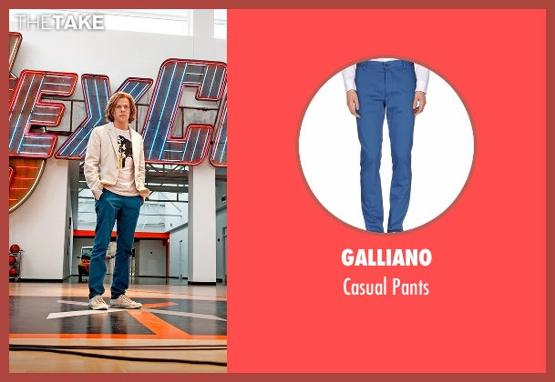Galliano blue pants from Batman v Superman: Dawn of Justice seen with Jesse Eisenberg (Lex Luthor)