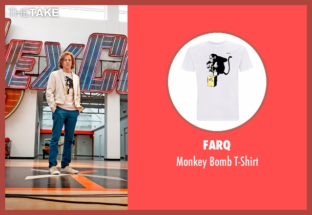 FARQ white t-shirt from Batman v Superman: Dawn of Justice seen with Jesse Eisenberg (Lex Luthor)