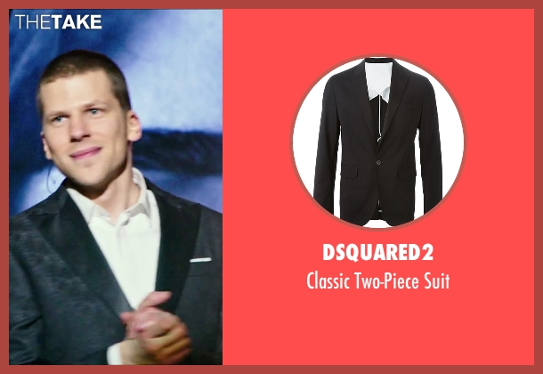 Dsquared2 black suit from Now You See Me 2 seen with Jesse Eisenberg (J. Daniel Atlas)
