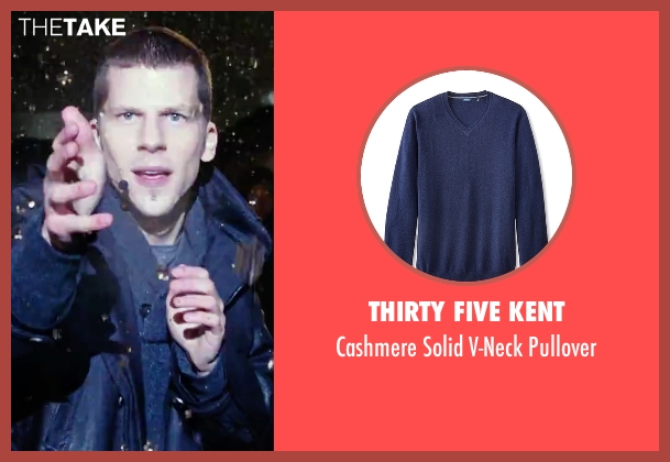 Thirty Five Kent blue pullover from Now You See Me 2 seen with Jesse Eisenberg (J. Daniel Atlas)