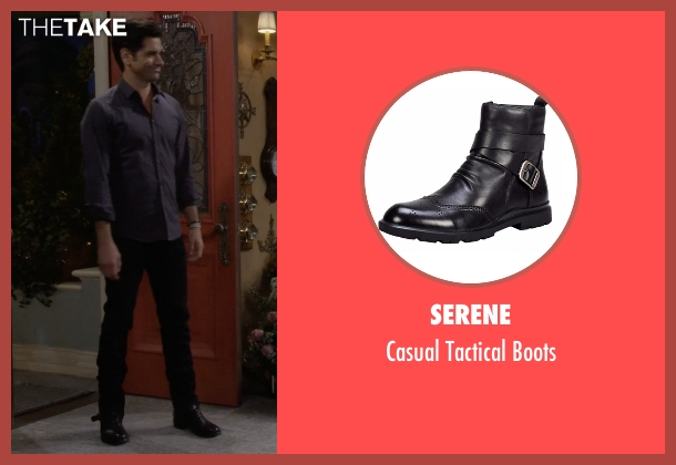 Serene black boots from Fuller House seen with Jesse Katsopolis (John Stamos)