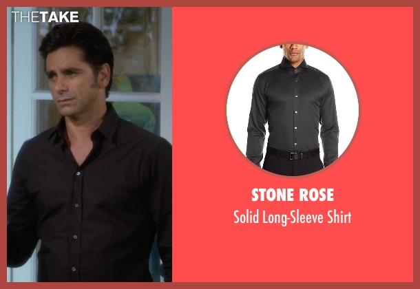 Stone Rose black shirt from Fuller House seen with Jesse Katsopolis (John Stamos)