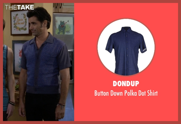 Dondup blue shirt from Fuller House seen with Jesse Katsopolis (John Stamos)