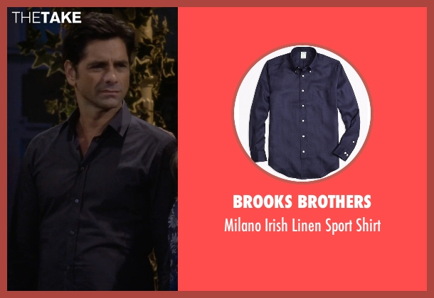 Brooks Brothers blue shirt from Fuller House seen with Jesse Katsopolis (John Stamos)