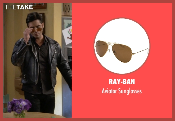Ray-Ban brown sunglasses from Fuller House seen with Jesse Katsopolis (John Stamos)