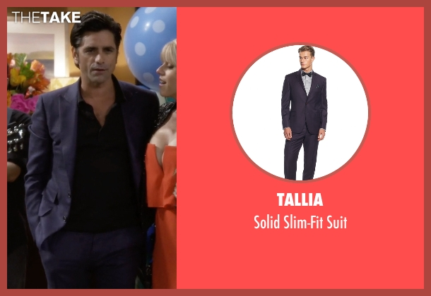 Tallia purple suit from Fuller House seen with Jesse Katsopolis (John Stamos)