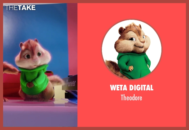 Weta Digital theodore from Alvin and the Chipmunks: The Road Chip seen with Jesse McCartney (Theodore (voice))