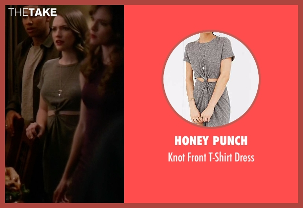 Honey Punch gray dress from The Flash seen with Jesse Wells  (Violett Beane)