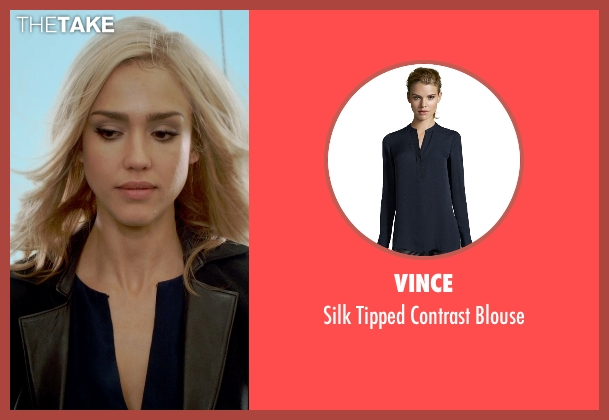 Vince blue blouse from Barely Lethal seen with Jessica Alba (Victoria Knox)