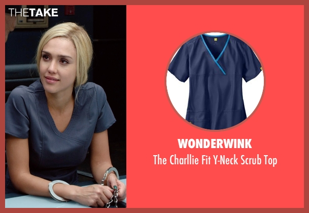 Wonderwink gray top from Barely Lethal seen with Jessica Alba (Victoria Knox)