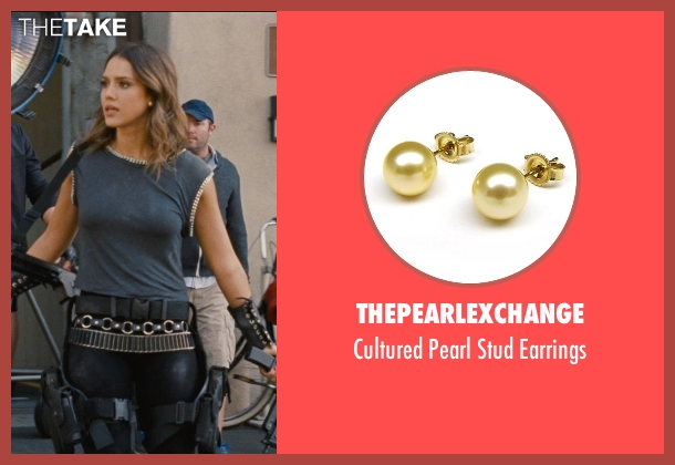 ThePearlExchange gold earrings from Entourage seen with Jessica Alba (Unknown Character)