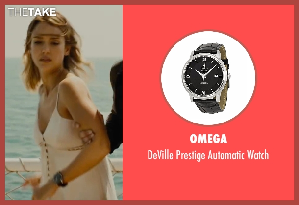 Omega black watch from Mechanic: Resurrection seen with Jessica Alba (Gina)