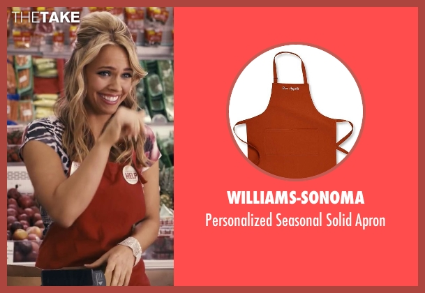 Williams-Sonoma red apron from Ted seen with Jessica Barth (Tami-Lynn)