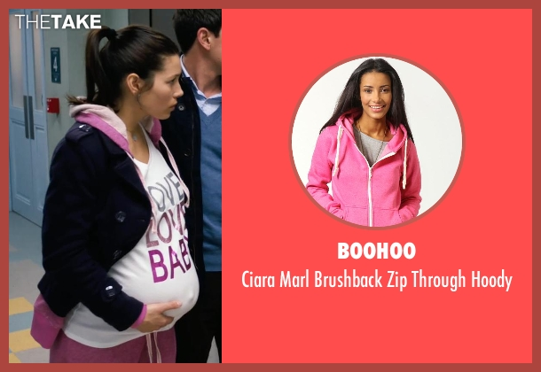 BooHoo pink hoody from New Year's Eve seen with Jessica Biel (Tess Byrne)