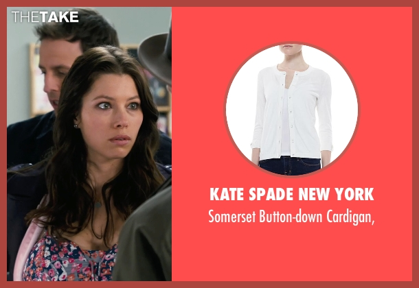 Kate Spade New York	 white cardigan, from New Year's Eve seen with Jessica Biel (Tess Byrne)
