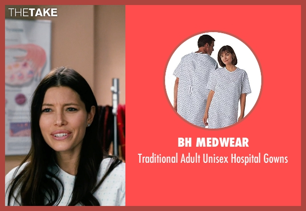 BH Medwear white gowns from New Year's Eve seen with Jessica Biel (Tess Byrne)