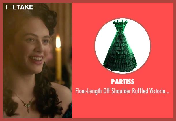 Partiss green dress from Victor Frankenstein seen with Jessica Brown Findlay (Lorelei)