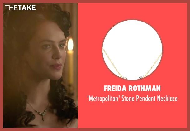 Freida Rothman green necklace from Victor Frankenstein seen with Jessica Brown Findlay (Lorelei)