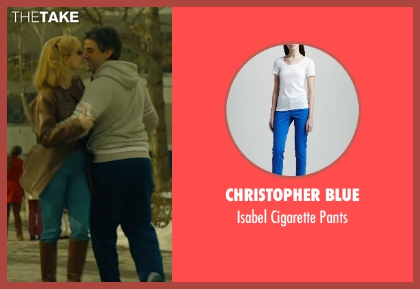 Christopher Blue blue pants from A Most Violent Year seen with Jessica Chastain (Anna Morales)