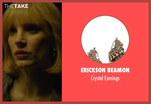 Erickson Beamon gold earrings from A Most Violent Year seen with Jessica Chastain (Anna Morales)