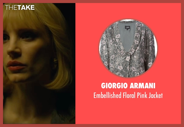 Giorgio Armani gray jacket from A Most Violent Year seen with Jessica Chastain (Anna Morales)