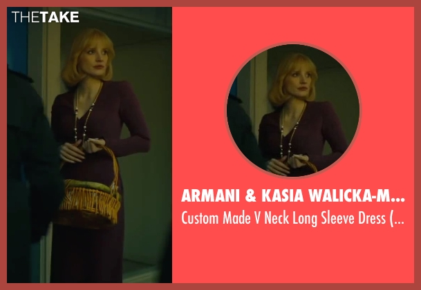 Armani & Kasia Walicka-Maimone (Costume Designer) purple dress from A Most Violent Year seen with Jessica Chastain (Anna Morales)