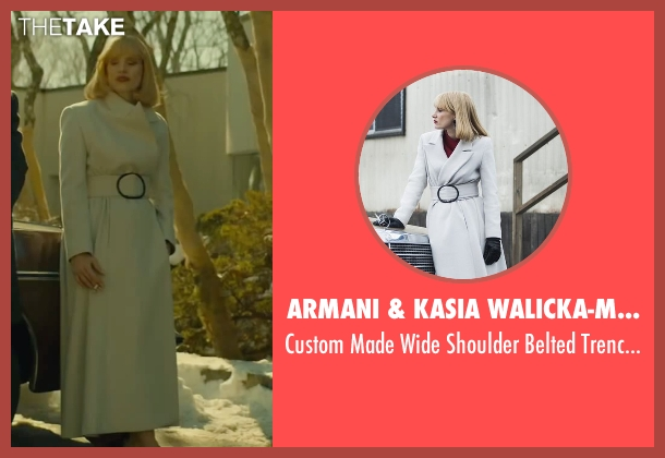 Armani & Kasia Walicka-Maimone (Costume Designer) white coat from A Most Violent Year seen with Jessica Chastain (Anna Morales)