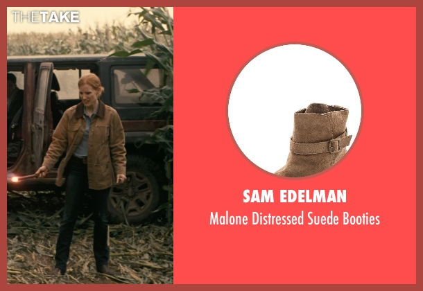 Sam Edelman brown booties from Interstellar seen with Jessica Chastain (Murph)