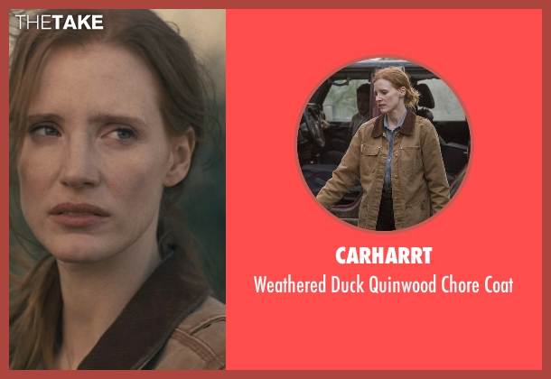 Carharrt brown coat from Interstellar seen with Jessica Chastain (Murph)