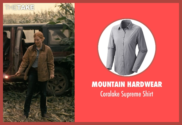 Mountain Hardwear gray shirt from Interstellar seen with Jessica Chastain (Murph)