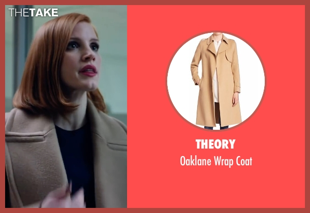 Theory beige coat from Miss Sloane seen with Jessica Chastain (Elizabeth Sloane)