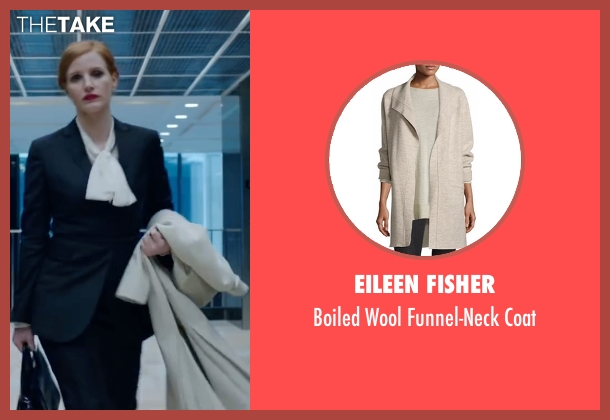 Eileen Fisher beige coat from Miss Sloane seen with Jessica Chastain (Elizabeth Sloane)