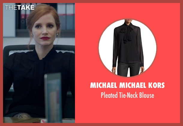 Michael Michael Kors black blouse from Miss Sloane seen with Jessica Chastain (Elizabeth Sloane)