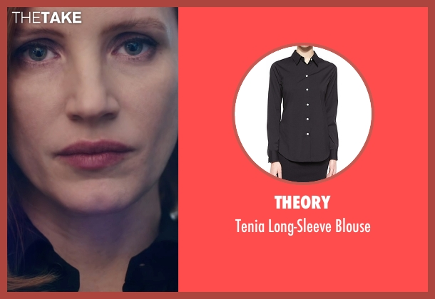 Theory black blouse from Miss Sloane seen with Jessica Chastain (Elizabeth Sloane)