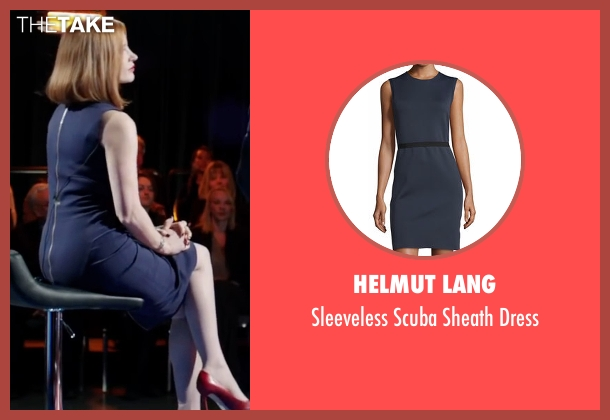 Helmut Lang blue dress from Miss Sloane seen with Jessica Chastain (Elizabeth Sloane)